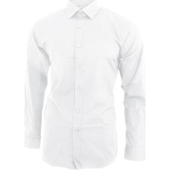 Textil Homem Camisas mangas comprida Brook Taverner BK130 Branco