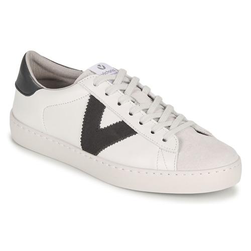Sapatos Homem Sapatilhas Victoria BERLIN PIEL CONTRASTE Branco / Cinza