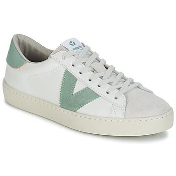 Sapatos Mulher Sapatilhas Victoria BERLIN PIEL CONTRASTE Branco / Verde