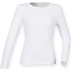 Textil Mulher T-shirt mangas compridas Skinni Fit SK124 Branco