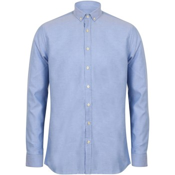 Textil Homem Camisas mangas comprida Henbury HB512 Azul