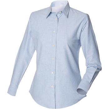 Textil Homem Camisas mangas comprida Henbury Classic Oxford Azul