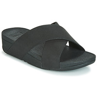Sapatos Mulher Chinelos FitFlop LULU SHIMMERLUX SLIDES Preto